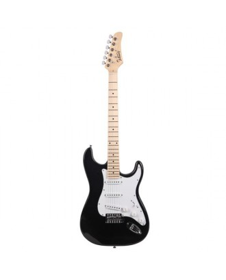 Glarry GST Maple Fingerboard Electric Guitar Bag Shoulder Strap Pick Whammy Bar Cord Wrench Tool Black & White