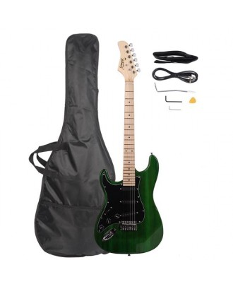 Glarry GST Black Shield Left Hand Electric Guitar   Bag   Strap   Picks   Shake   Cable   Wrench Tool Green