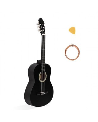 39 Inch 4/4 Size Classical Guitar 19 Frets Beginner Kit for Students Children Adult String Pick Black