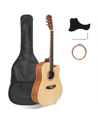 41in Full Size Cutaway Acoustic Guitar 20 Frets Beginner Kit for Students Adult Bag Cover Wrench Strings Burlywood