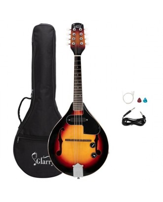 Glarry A Style 8-String Acoustic Electric Mandolin Double-Duty Mandolin with Gig Bag for Beginner Sunset Color
