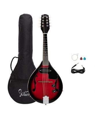 Glarry A Style 8-String Acoustic Electric Mandolin Double-Duty Mandolin with Gig Bag for Beginner Sunset Red