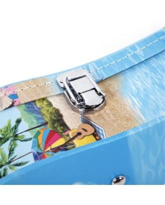 "26"" Tenor Hawaii Style Pattern Leather Ukulele Case Light Blue"