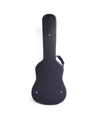 "Glarry 41"" Folk Guitar Hardshell Carrying Case Fits Most Acoustic Guitars Microgroove Flat Black"